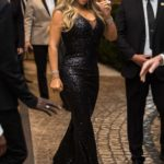 Mariah Carey in a Black Dress Leaves the Martinez Hotel in Cannes