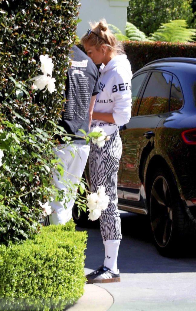 Stella Maxwell in a White Hoody