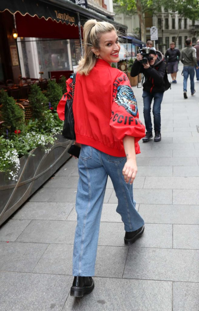 Ashley Roberts in a Red Bomber Jacket
