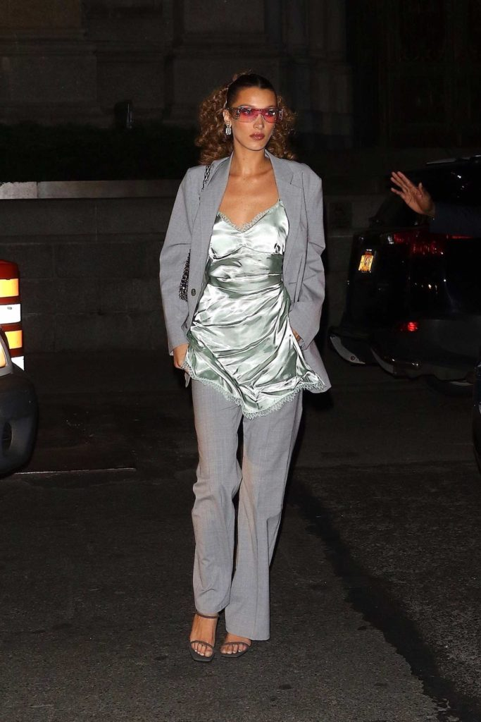 Bella Hadid in a Gray Suit