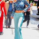 Bella Thorne in a Blue Track Pants Arrives at Good Morning America TV Show in New York