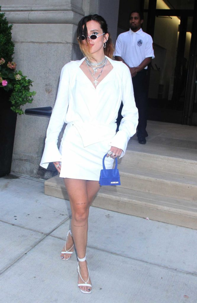 Bella Thorne in a White Suit