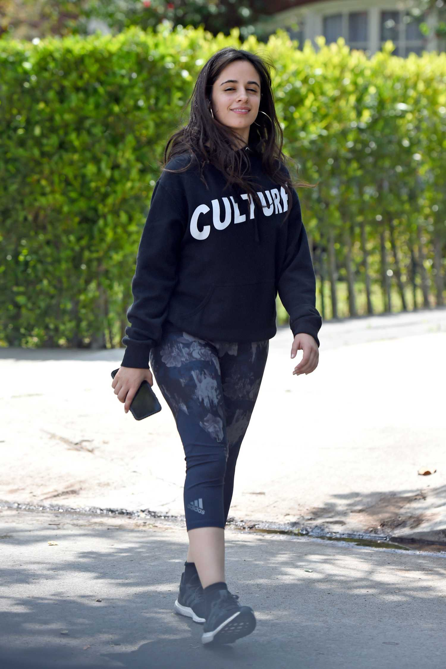 Camila Cabello in a Black Hoody Leaves a Friend's House in