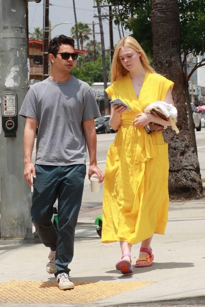 Elle Fanning in a Yellow Dress