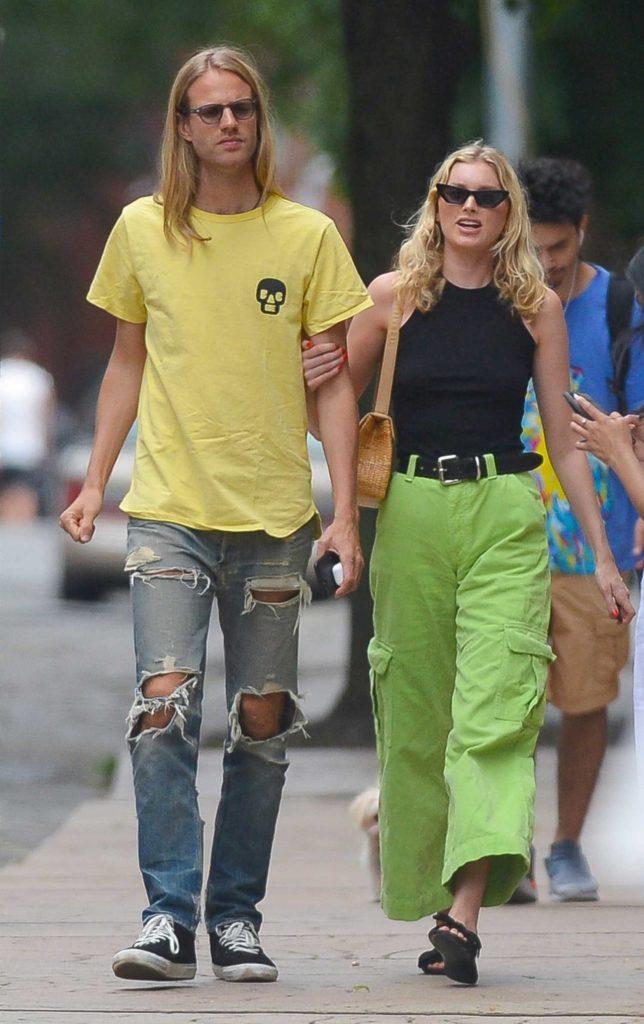 Elsa Hosk in a Neon Green Pants