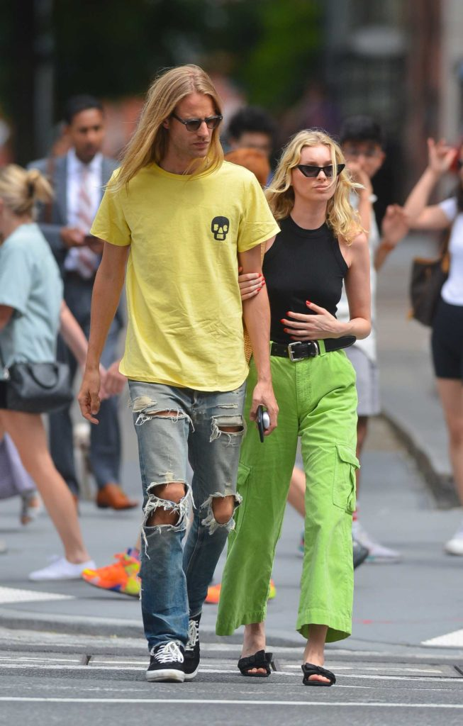 Elsa Hosk in a Neon Green Pants