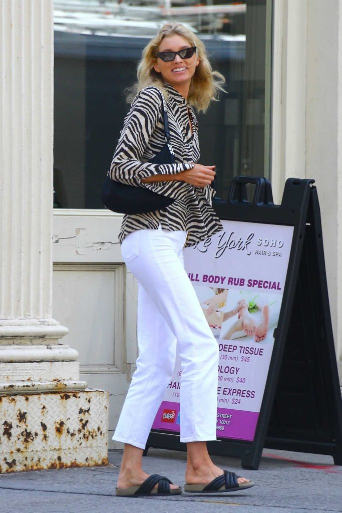Elsa Hosk in a White Pants