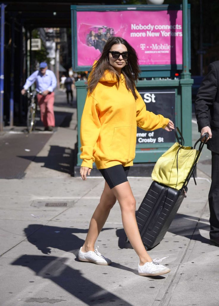 Emily Ratajkowski in a Yellow Hoody