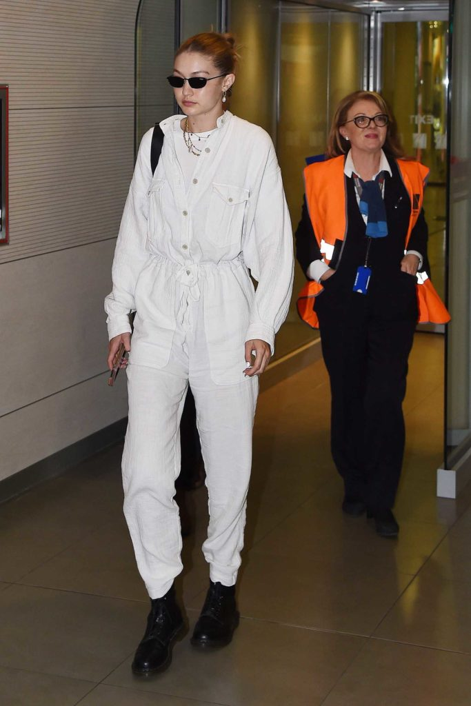 Gigi Hadid in a White Jumpsuit