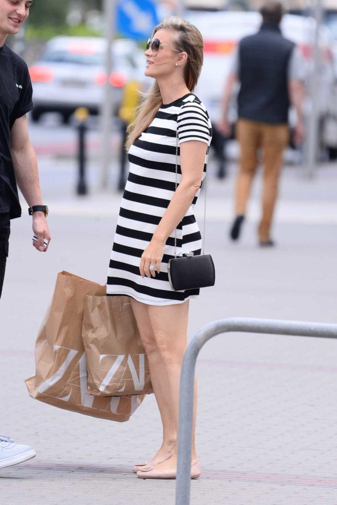 Joanna Krupa in a Striped Dress