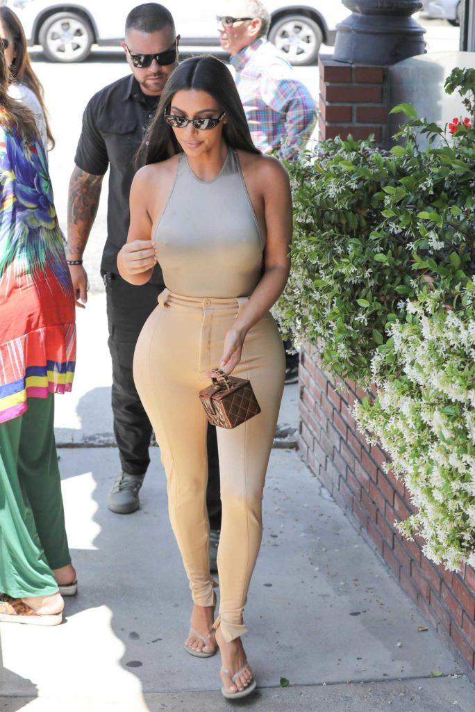 Kim Kardashian in a Beige Form Fitting Pants