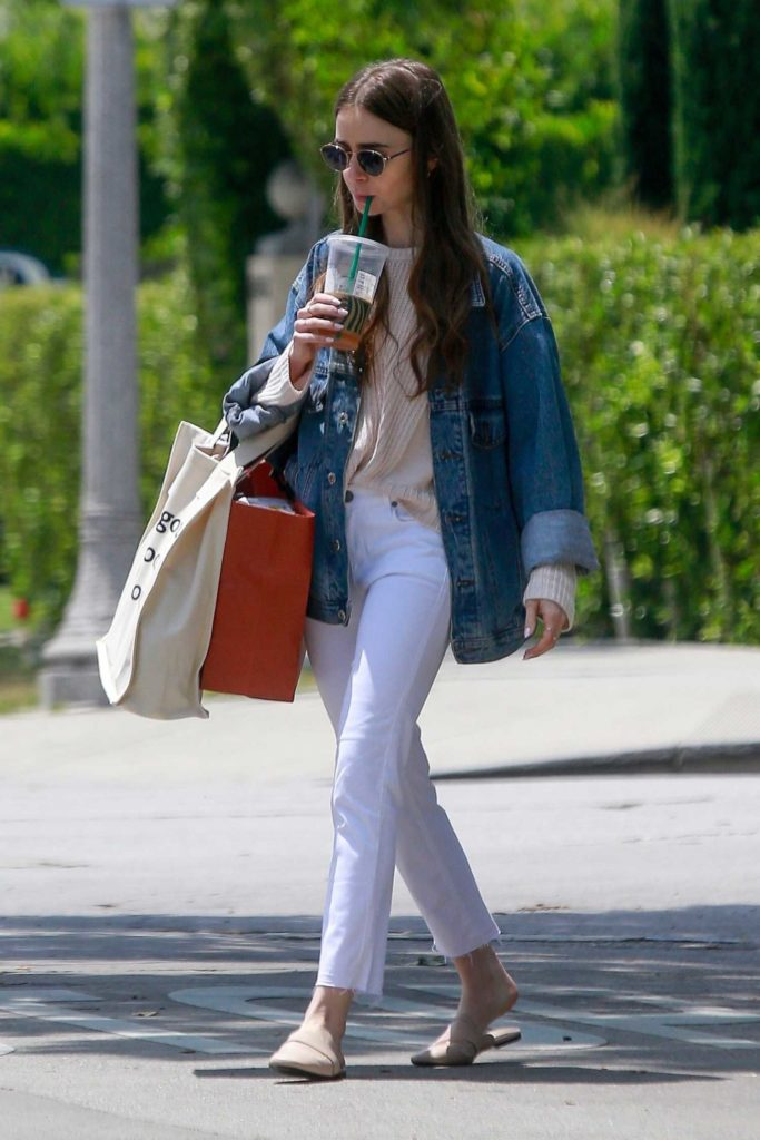 Lily Collins in a White Jeans