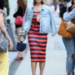 Mandy Moore in a Red and Blue Striped Dress Steps Out in New York
