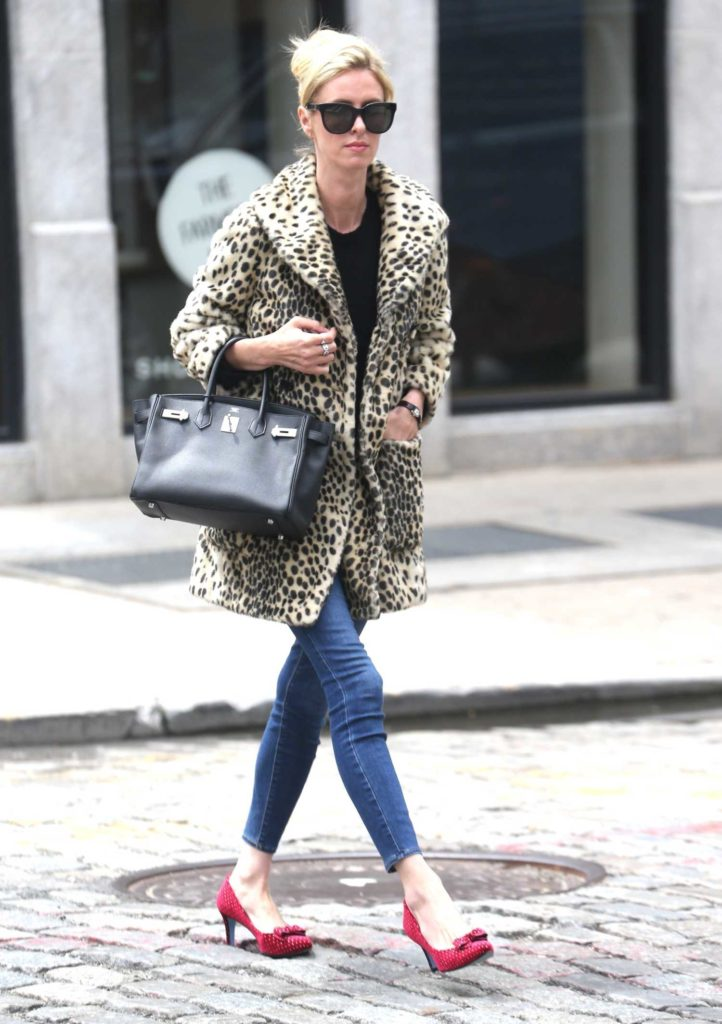 Nicky Hilton in a Leopard Print Fur Coat