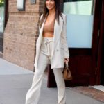 Olivia Munn in a White Striped Suit Was Seen Out in New York City