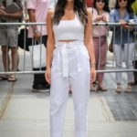Olivia Munn in a White Top Arrives at The View TV Talk Show in New York City