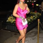 Rihanna in a Pink Dress Night Out in Manhattan, New York City