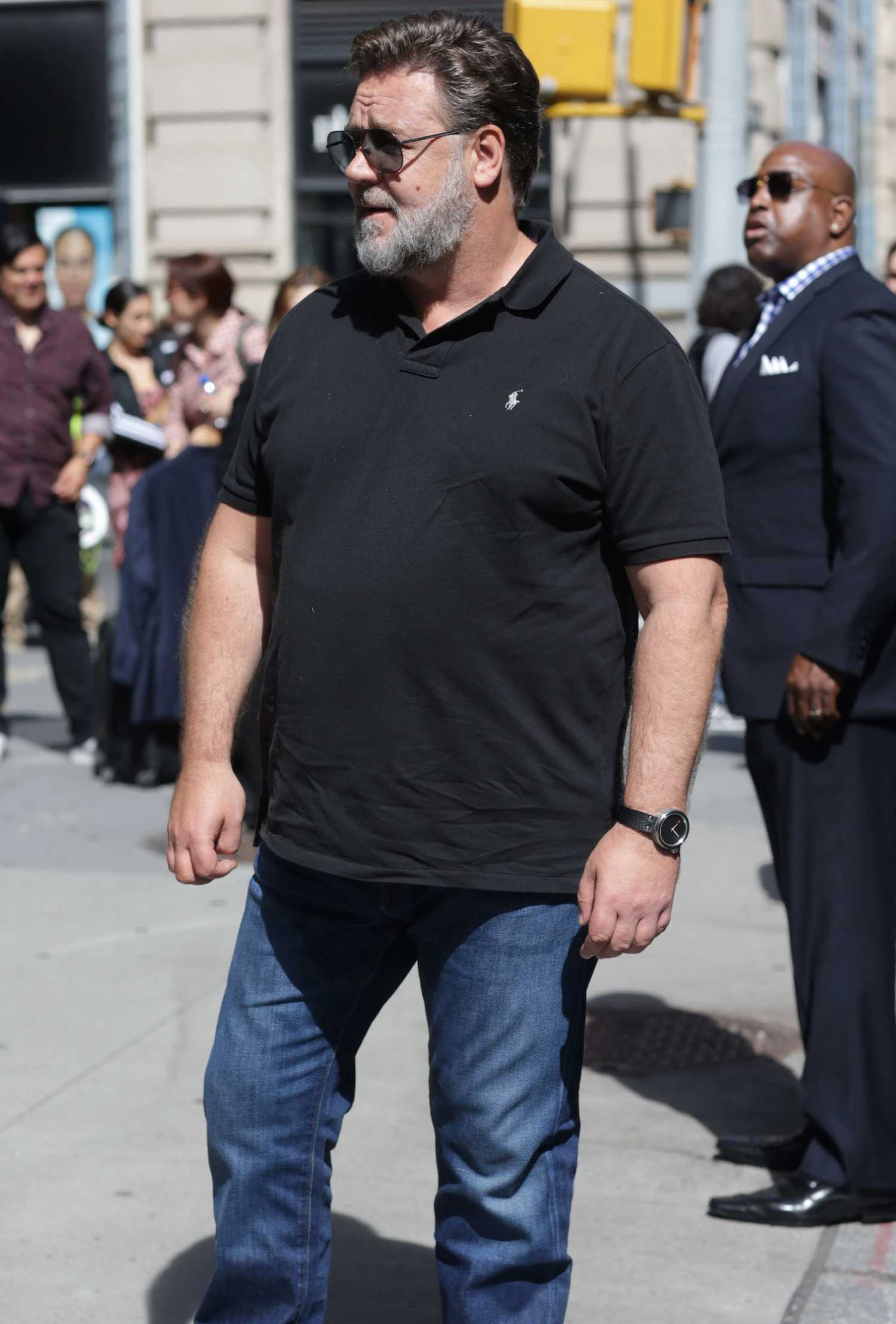 Russell Crowe in a Black Polo Visits Good Morning America