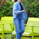 Shailene Woodley in a Blue Denim Suit Was Seen Out in New York