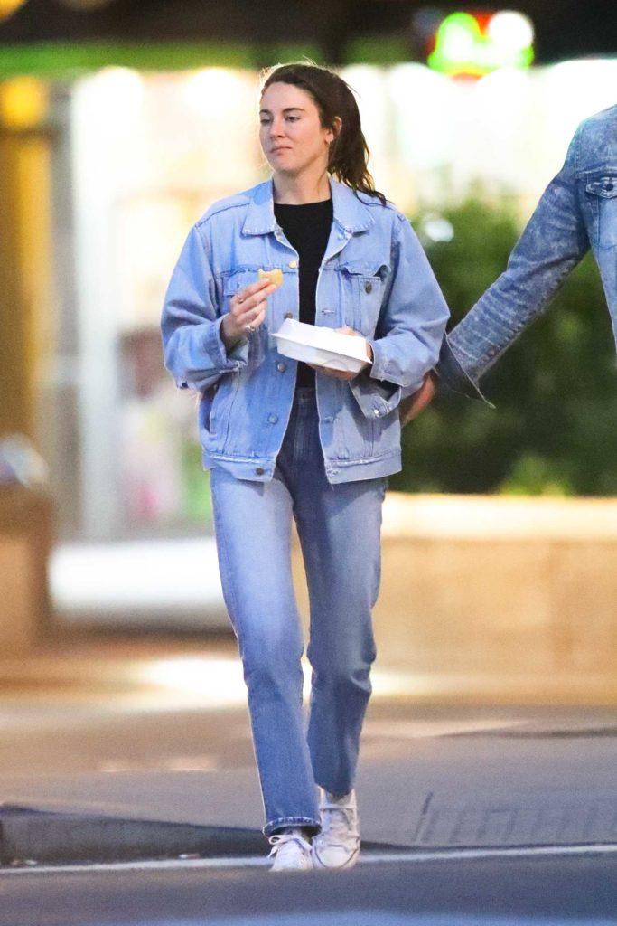 Shailene Woodley in a Blue Denim Suit