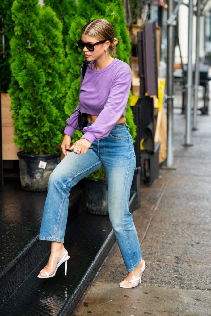 Sofia Richie in a Short Purple Sweatshirt