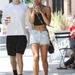 Alexis Ren in a Blue Daisy Duke Shorts Was Seen Out with a Friend in Studio City