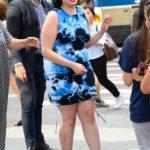 Barbie Ferreira in a Blue Dress Leaves AOL Build Studio in New York City