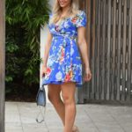 Camille Kostek in a Blue Floral Dress Arrives at the Sports Illustrated Open Casting Call at the W Hotel in Miami