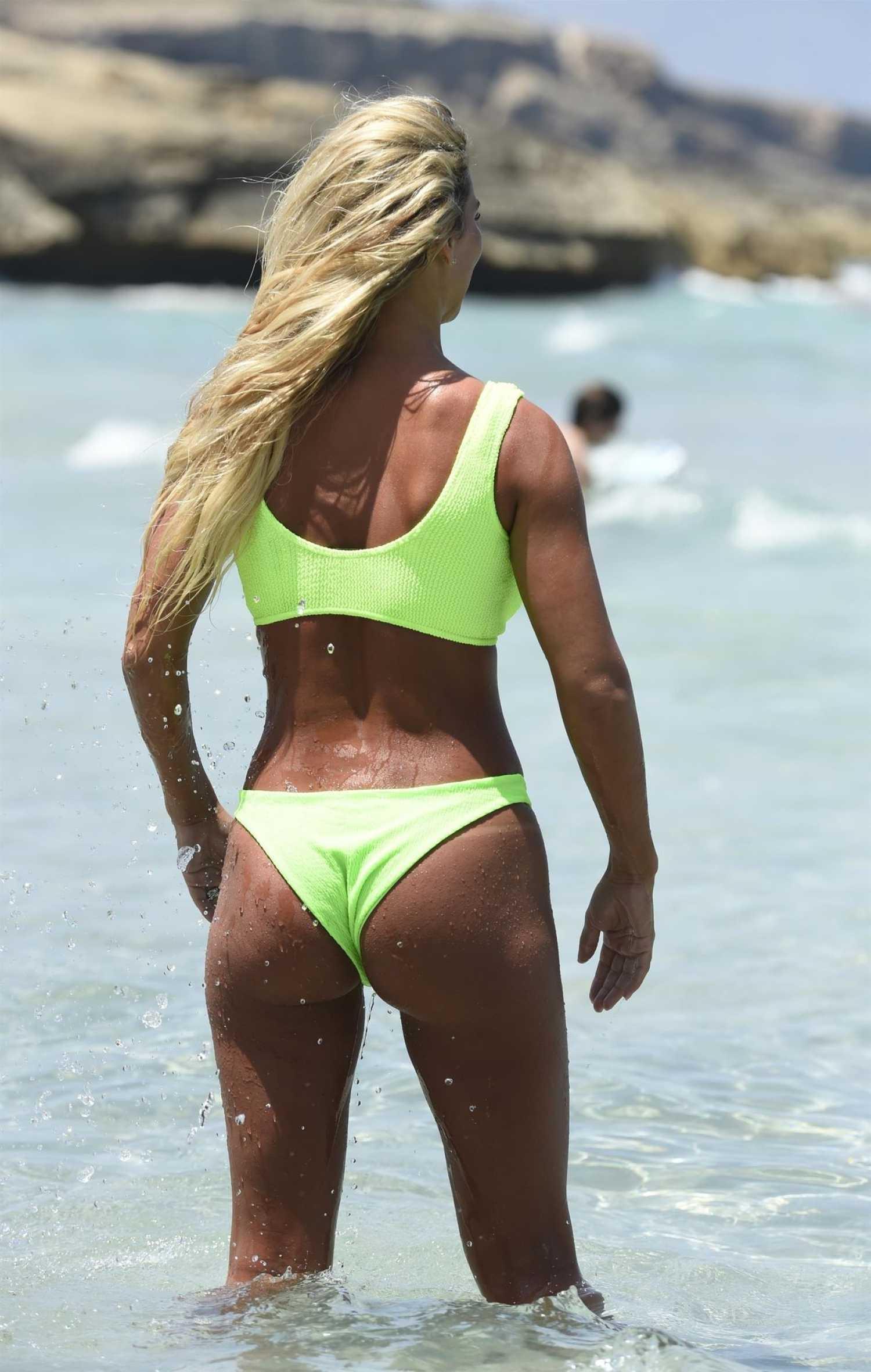 Christine Mcguinness Neon Green Bikini The Beach Spain Celeb Donut