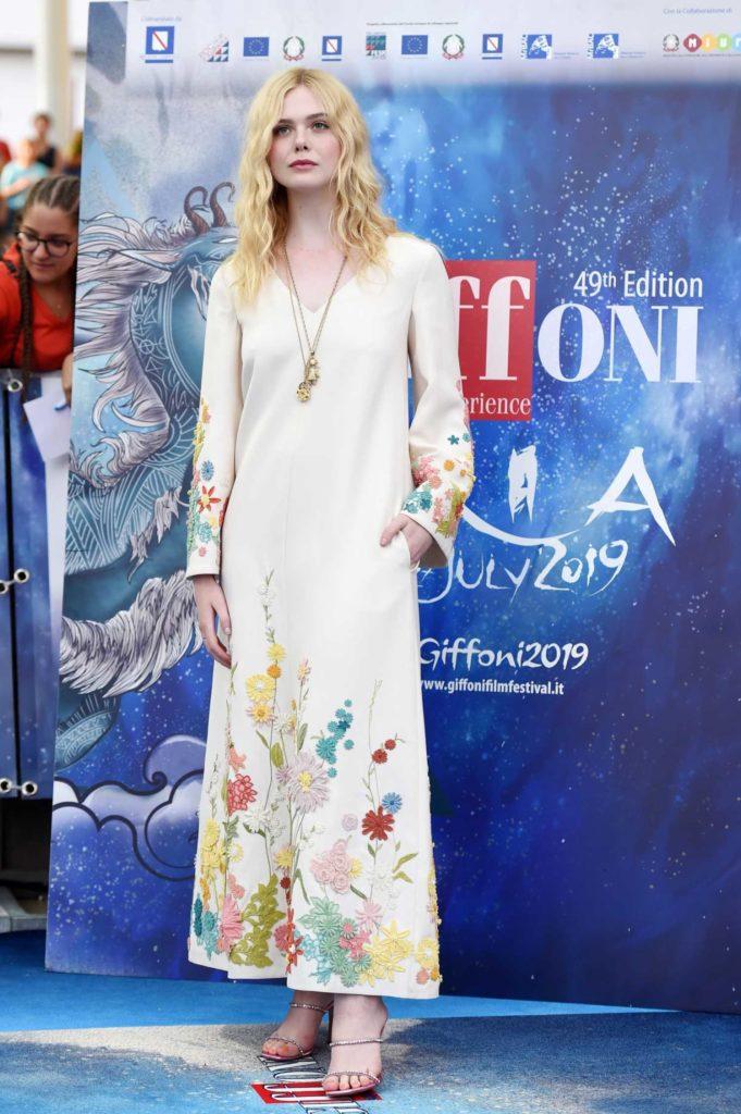 Elle Fanning in a Beige Floral Dress