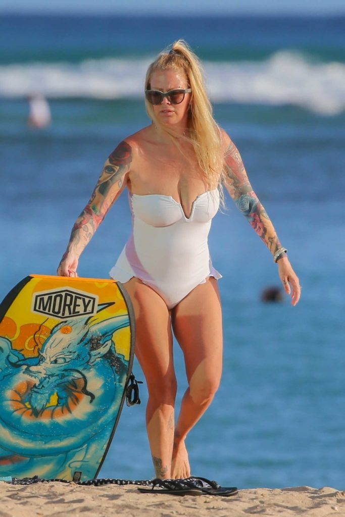 Jenna Jameson in a White Swimsuit