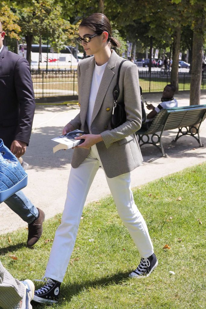 Kaia Gerber in a White Pants