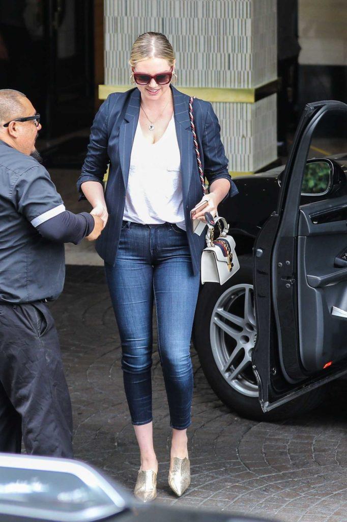 Kate Upton in a Black Striped Blazer