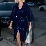 Katy Perry in a Blue Dress Arrives at Craig's Restaurant in West Hollywood