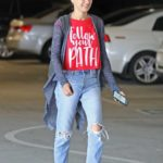 Mila Kunis in a Red Tee Arrives at a Local Nails Salon in LA