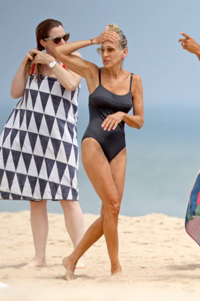 Sarah Jessica Parker in a Black Swimsuit