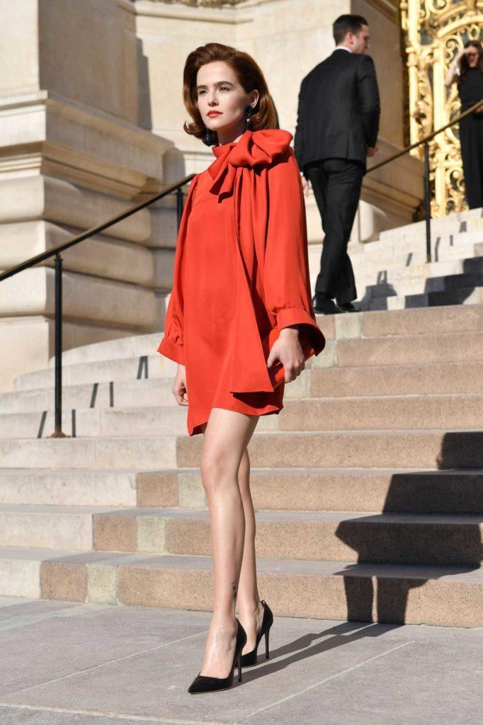 Zoey Deutch in a Red Dress