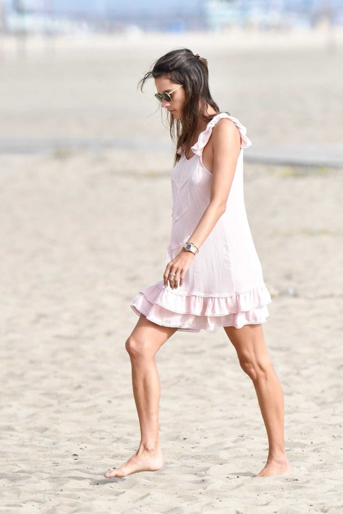 Alessandra Ambrosio in a Summery Pink Dress