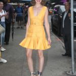 Alison Brie in a Yellow Dress Arrives at Good Morning America in New York