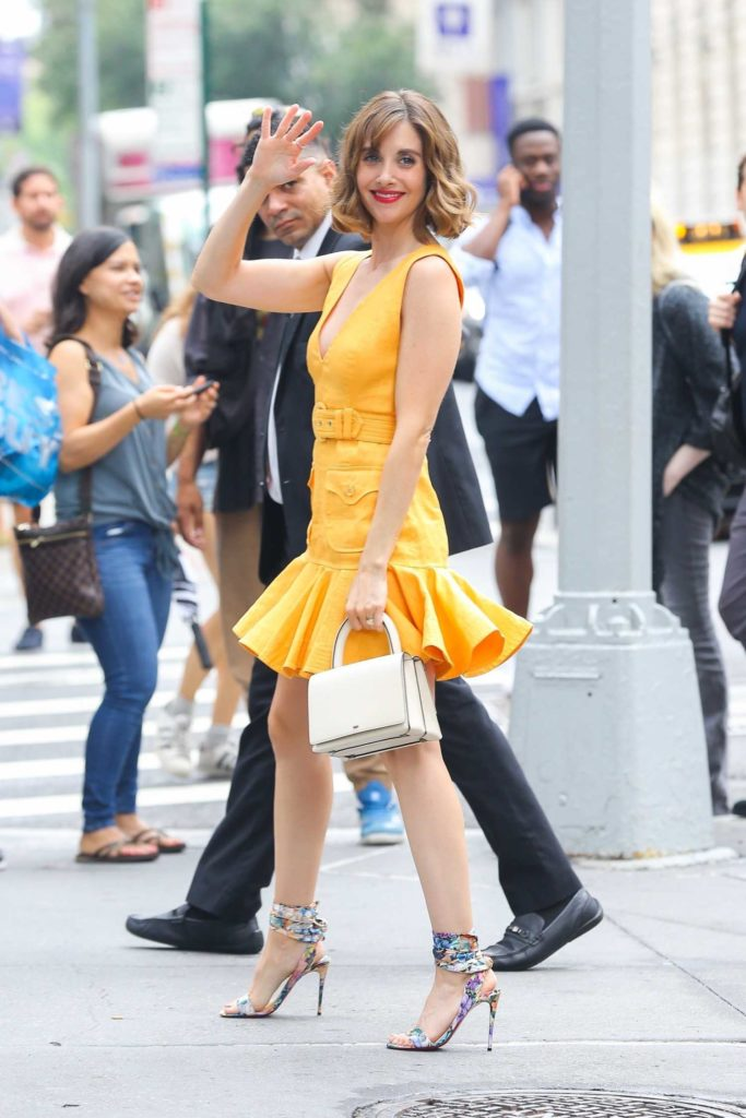 Alison Brie in a Yellow Dress