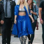 Ava Max in a Blue Suit Arrives at Jimmy Kimmel Live in LA