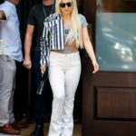 Ava Max in a White Pants Leaves Her Hotel in New York City