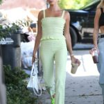 Hailey Baldwin in a Neon Green Sneakers Was Seen Out with Her Stylist in West Hollywood 08/23/2019
