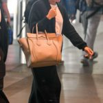 Lea Michele in a Black Cardigan Arrives at LAX Airport in LA