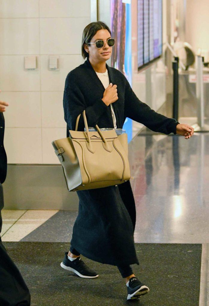 Lea Michele in a Black Cardigan
