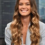 Nina Agdal Attends Good Day New York to Promote Pura Still Spiked Water in New York