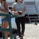 Olivia Munn in a Gray Tee on the Set of Violet in LA