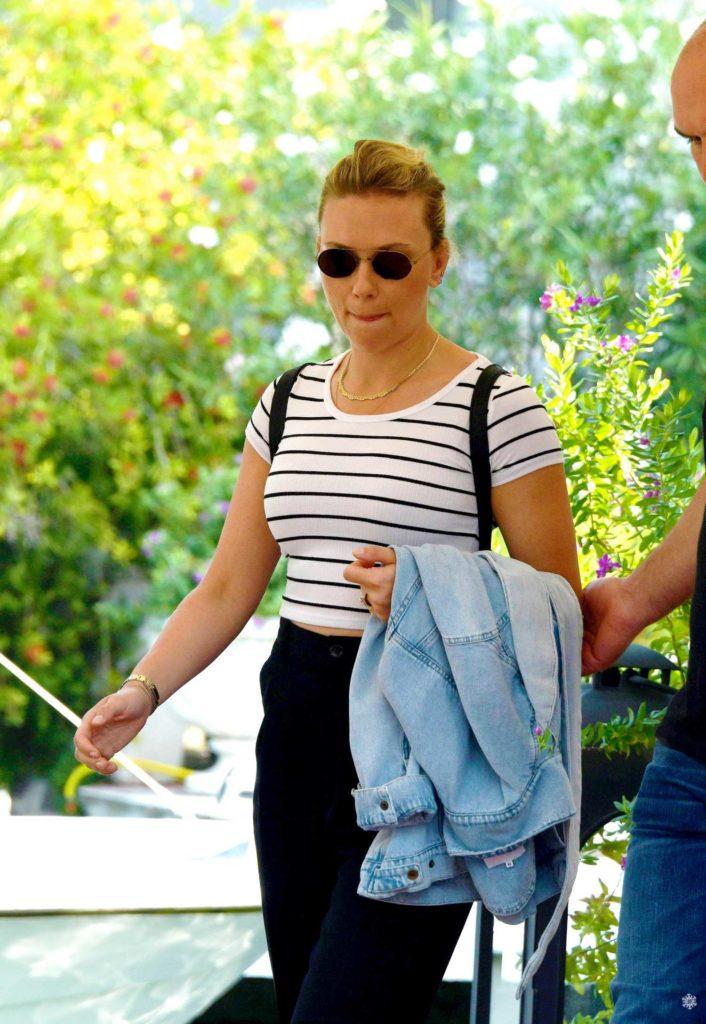 Scarlett Johansson in a Striped Tee