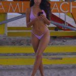 Tao Wickrath in a Purple Bikini on the Beach in Miami