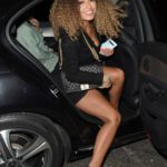 Amber Gill in a Black Dress Arrives at the India x Boohoo Dinner in London
